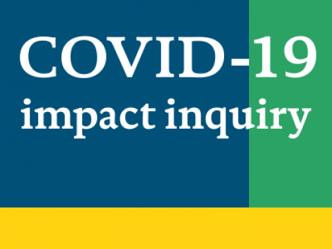 The words COVID-19 impact inquiry are written over three blocks of colour (blue, green and yellow)