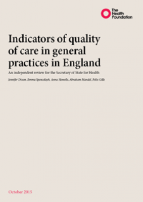 Indicators of quality of care in general practices in England