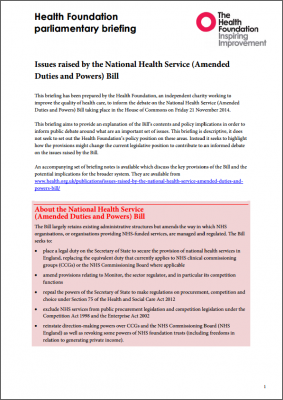Issues raised by the National Health Service (Amended Duties and Powers) Bill