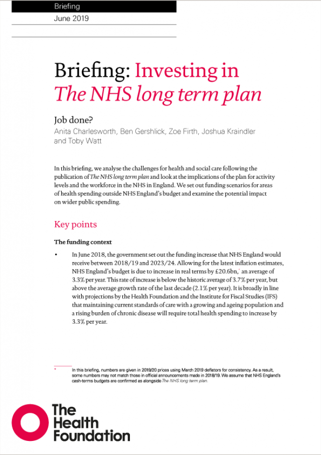 Front cover for Investing in the NHS long term plan briefing