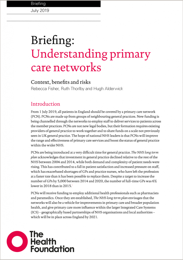 Front cover of our briefing, Understanding primary care networks