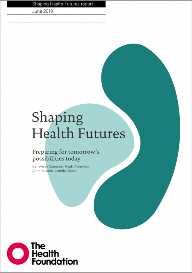 Front cover of Shaping Health Futures report