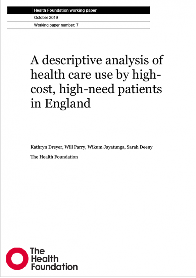 Cover of high cost high need users working paper