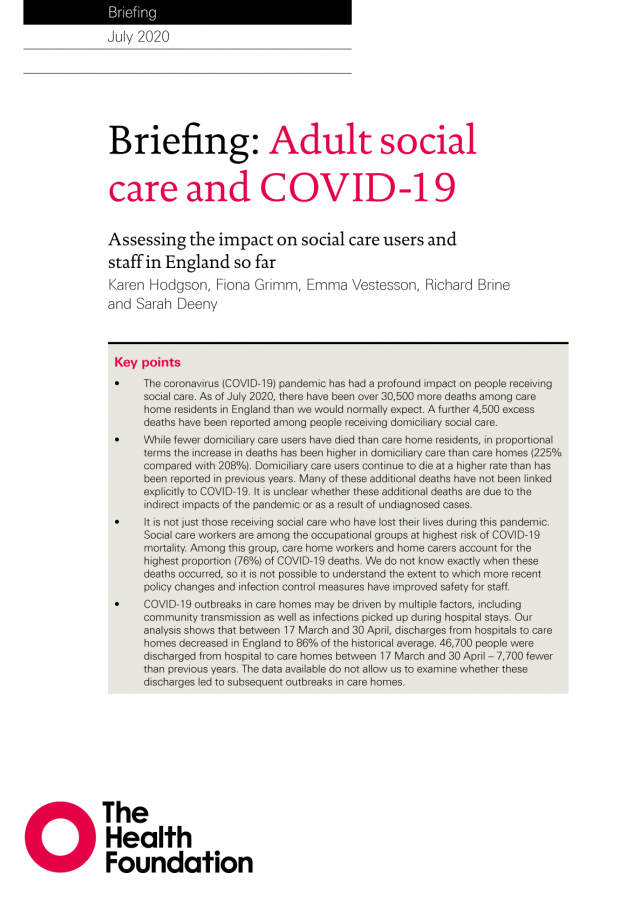Front cover of 2020 Health Foundation report looking at scale of impact of COVID-19 on adult social care in England