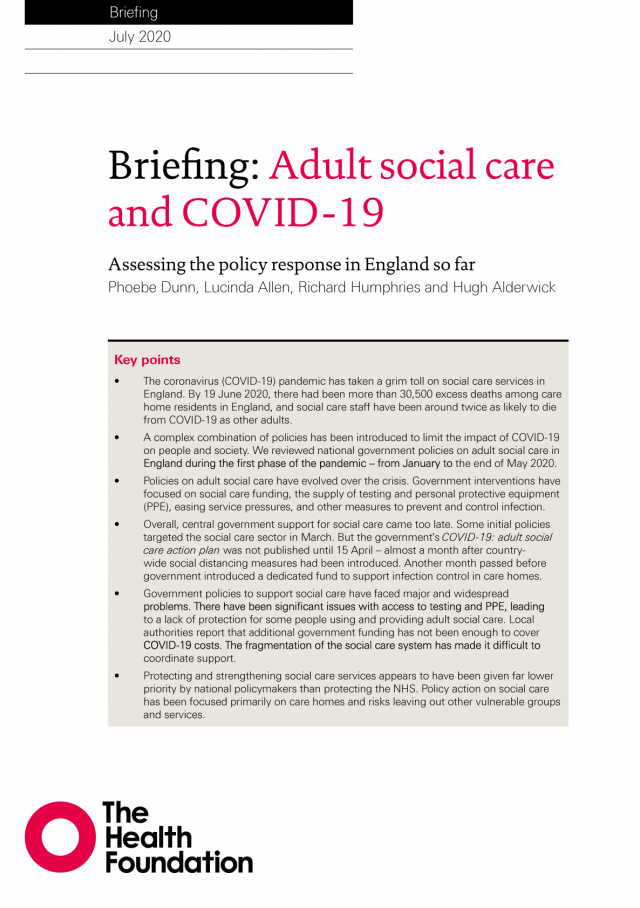 Front cover for 2020 Health Foundation report looking a social care policy response during the COVID-19 pandemic