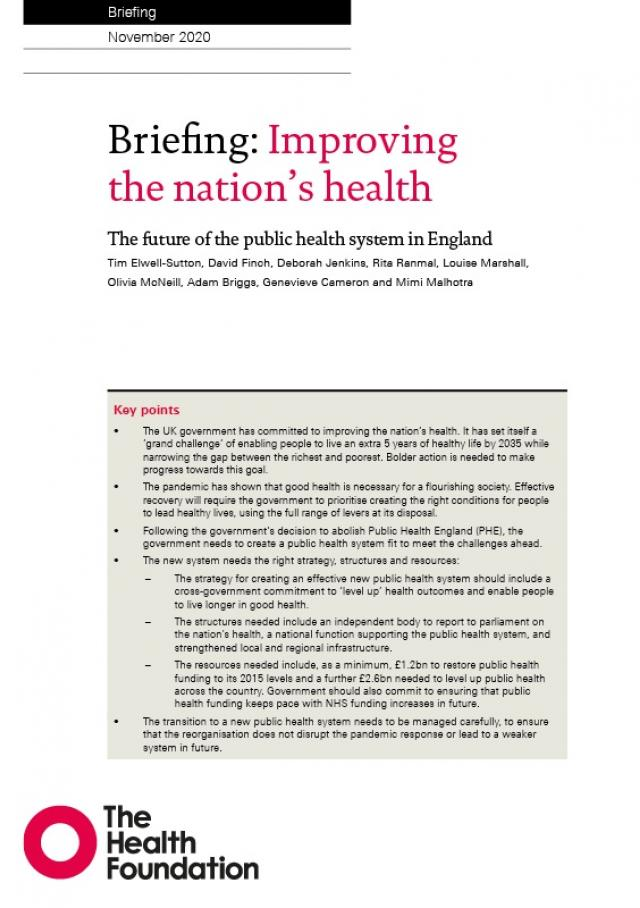 Improving the nation's health - thumbnail