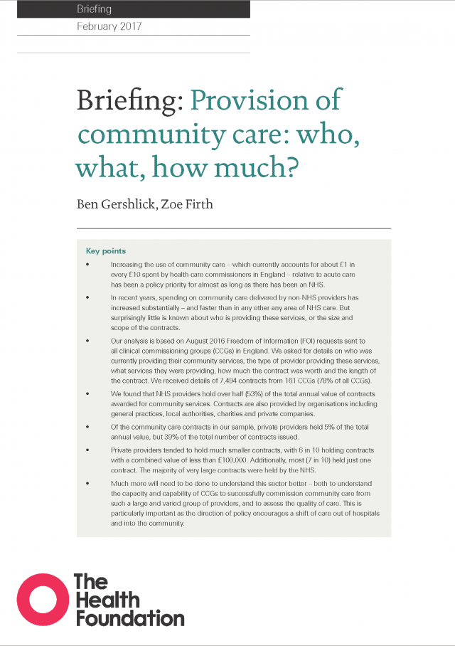 Provision of community care: Who, what, how much? | The