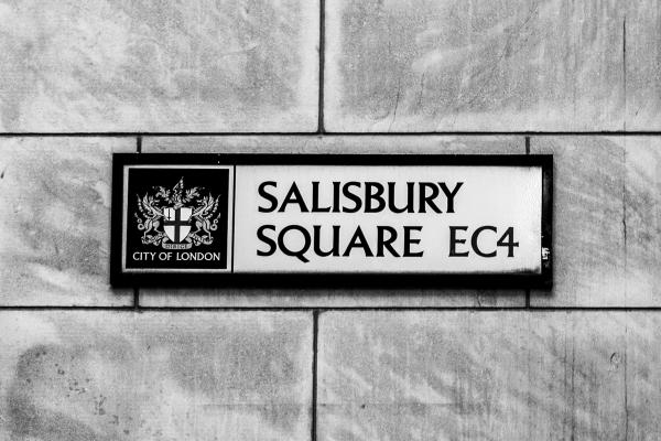 Photo of the street sign for Salisbury Square, EC4.