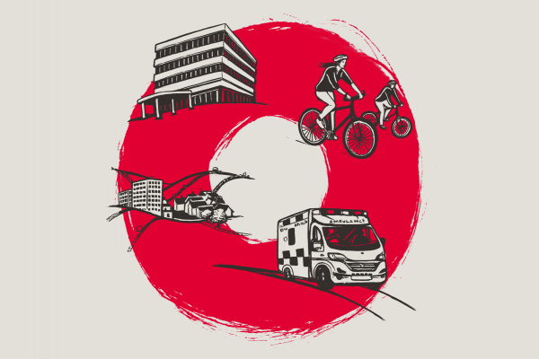 An image of a hospital, town, people riding bikes and an ambulance