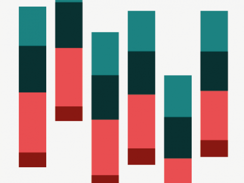 Graphic showing stacked bars in red and teal