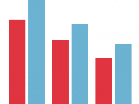 Graphic showing red and blue bars
